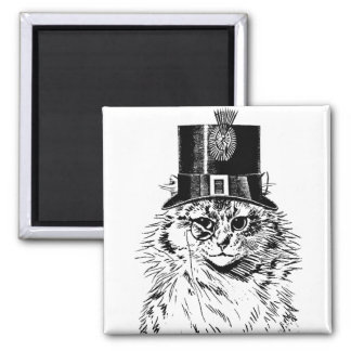 Steampunk Cat Magnet, Kitty in Top Hat Square Magnet