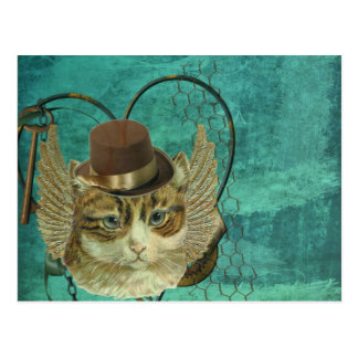 Steampunk cat postcard