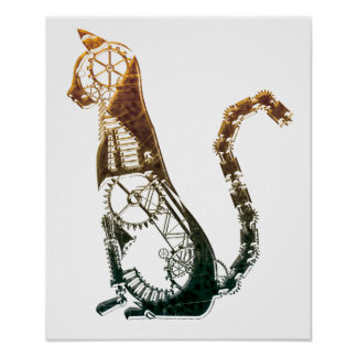 Steampunk cat posters