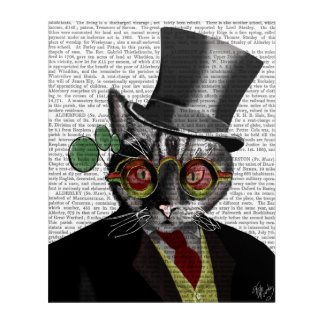 Steampunk Cat - Top Hat and red yellow glasses Acrylic Print