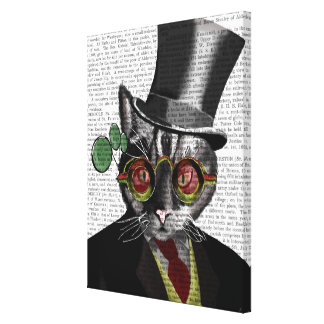Steampunk Cat - Top Hat and red yellow glasses Canvas Print