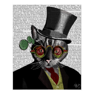 Steampunk Cat - Top Hat and red yellow glasses Poster