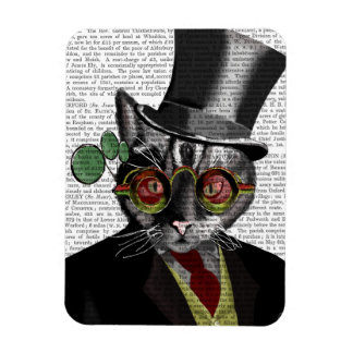 Steampunk Cat - Top Hat and red yellow glasses Rectangular Photo Magnet