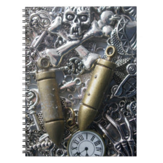 Steampunk charms spiral notebook