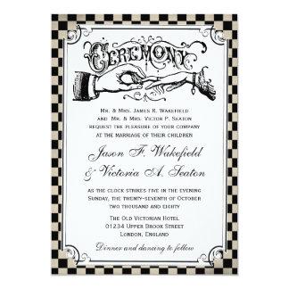 Steampunk Checkerboard Wedding Invitations