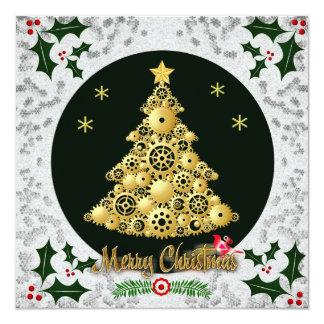 steampunk christmas tree holiday greetings card