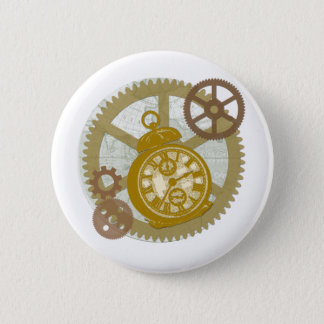 Steampunk Clock and Gears 6 Cm Round Badge
