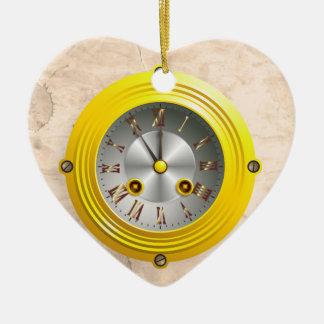 Steampunk clock ceramic heart decoration