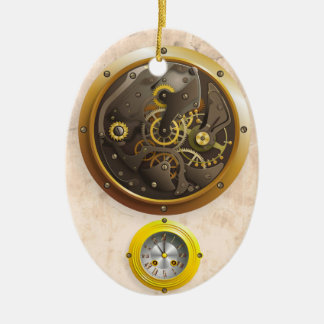 Steampunk clock ceramic oval decoration
