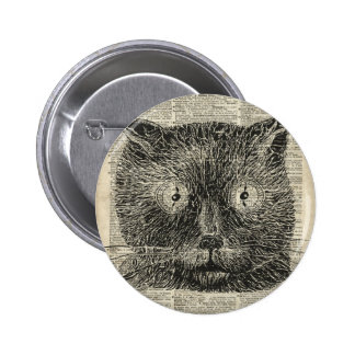 Steampunk Clock Eyes Cat Over Dictionary Page 6 Cm Round Badge