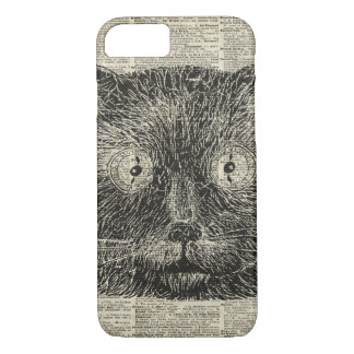 Steampunk Clock Eyes Cat Over Dictionary Page iPhone 7 Case