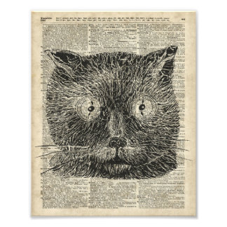 Steampunk Clock Eyes Cat Over Dictionary Page Photo Print