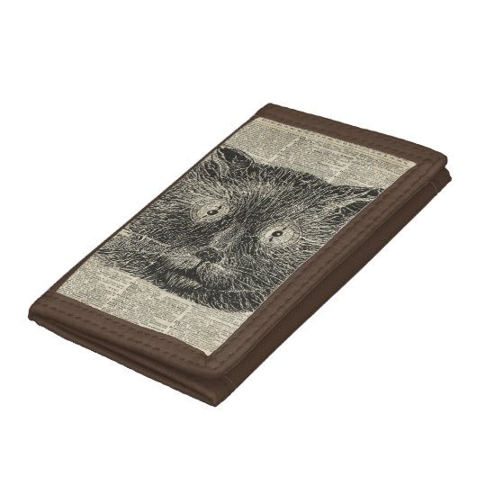 Steampunk Clock Eyes Cat Over Dictionary Page Tri-fold