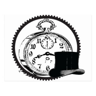 steampunk clock,gear,hat postcard
