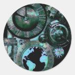 Steampunk Clock Round Stickers