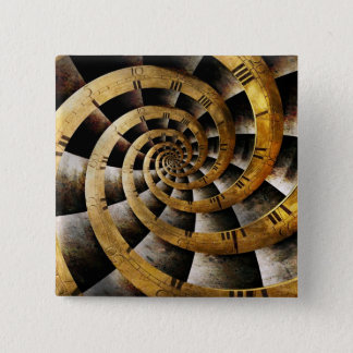 Steampunk - Clock - The flow of time 15 Cm Square Badge
