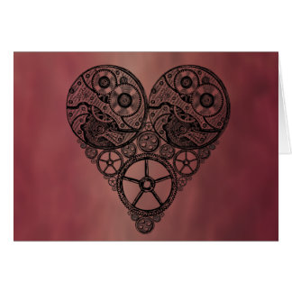Steampunk Clock Works and Gear Heart Greeting Card