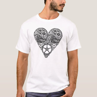 Steampunk  Clock Works and Gear Heart T-Shirt
