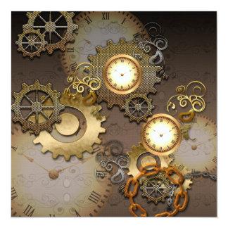 Steampunk, clocks and gears i 5.25x5.25 square paper invitation card