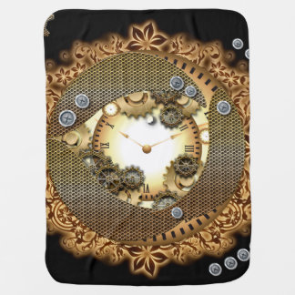 Steampunk, clocks and gears i pram blankets