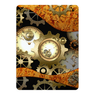 Steampunk, clocks and gears in golden colors 14 cm x 19 cm invitation card