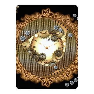 Steampunk, clocks and gears in golden colorsg 14 cm x 19 cm invitation card