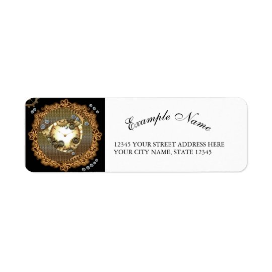 Steampunk, clocks and gears in golden colorsg return address label