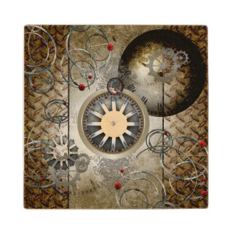 Steampunk, clocks and gears maple wood coaster