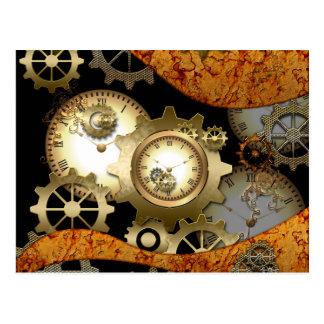 Steampunk, clocks and gears postcard