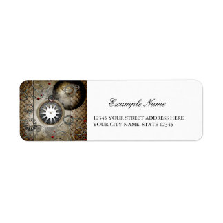 Steampunk, clocks and gears return address label