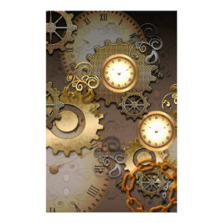 Steampunk, clocks and gears stationery