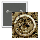 Steampunk Clocks  Gold Gears Mechanical Gifts 15 Cm Square Badge