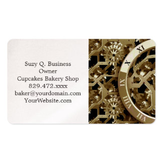 Steampunk Clocks  Gold Gears Mechanical Gifts Pack Of Standard Business Cards