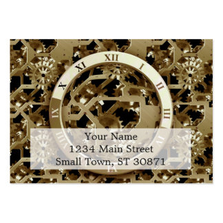 Steampunk Clocks  Gold Gears Mechanical Gifts Large Business Cards (Pack Of 100)