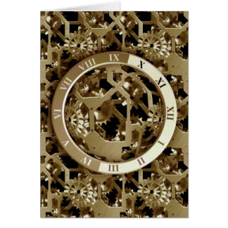 Steampunk Clocks  Gold Gears Mechanical Gifts Note Card