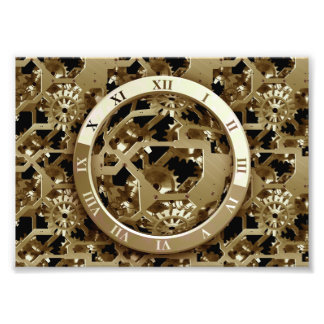 Steampunk Clocks  Gold Gears Mechanical Gifts Photo Print