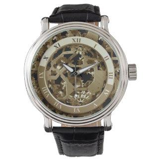 Steampunk Clocks  Gold Gears Mechanical Gifts Wrist Watch