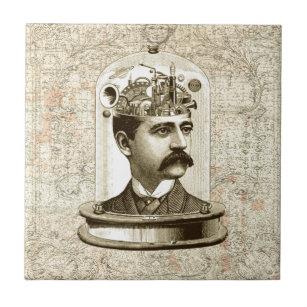 Steampunk clockwork brain head in jar tile