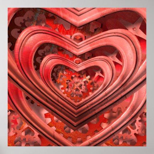 steampunk clockwork heart poster