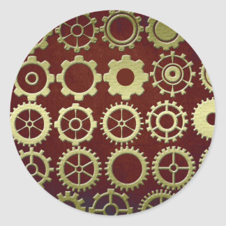 Steampunk Cogs and Gears Art Classic Round Sticker