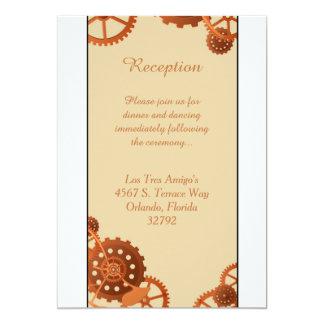 Steampunk Cogs Gears 3.5x7 Wedding Reception Card