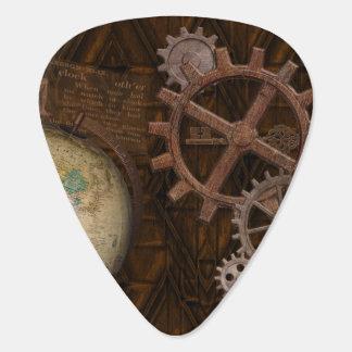 Steampunk Cogs , Gears, Globe & Skeleton Key Guitar Pick