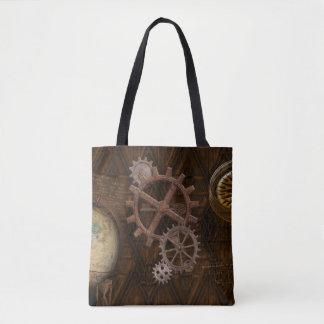 Steampunk Cogs , Gears, Globe & Skeleton Key Tote Bag