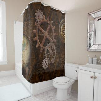 Steampunk Cogs , Gears & Skeleton Key Shower Curtain