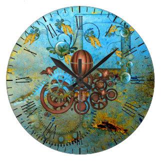 Steampunk Collage Aqua Copper Wall Clock