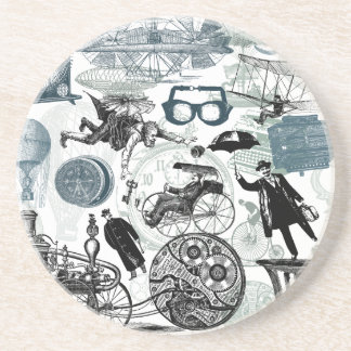 Steampunk Collage Colorized Beverage Coasters