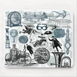 Steampunk Collage Colorized Mouse Pad