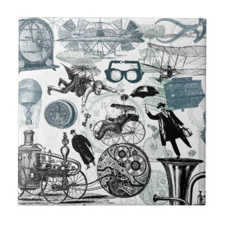 Steampunk Collage Colorized Tile