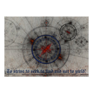 Steampunk Compass. Fractal geometry Poster