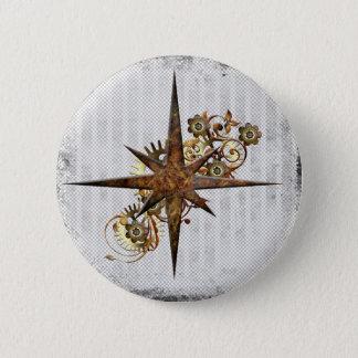 Steampunk Compass Star Grunge 6 Cm Round Badge